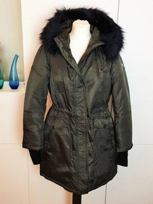 * DIANE von FÜRSTENBERG * NEU ! ( kl Fehler)  Winter Jacke warmer PARKA  oliv grün FAKE FUR PELZ Kapuze  XL 42