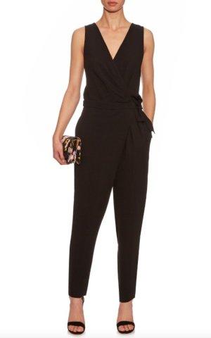 Diane von Fürstenberg Overall 40 L Schwarz NEU DvF Cordia Jumpsuit Black us 12