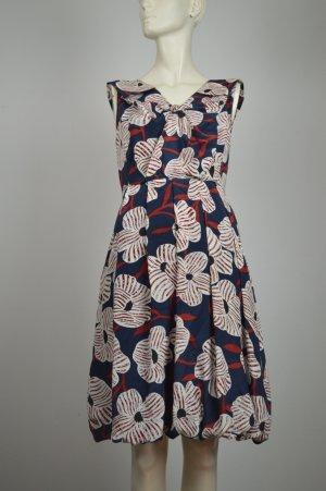 Diane von Fürstenberg Seiden Kleid Gr. 34 dt. 4 US Blau Rot Weiß Blumen Muster