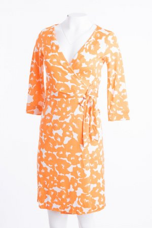 Diane von Furstenberg Wraparound white-orange silk