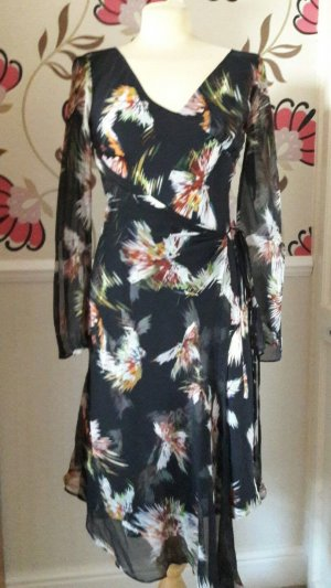 DIANE VON FURSTENBERG 91% SILK FLORAL WRAP LOOK CALF LENGTH DRESS SIZE 4 UK 12