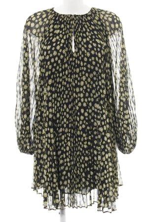 Diane von Furstenberg Blusenkleid schwarz-blassgelb Allover-Druck Casual-Look