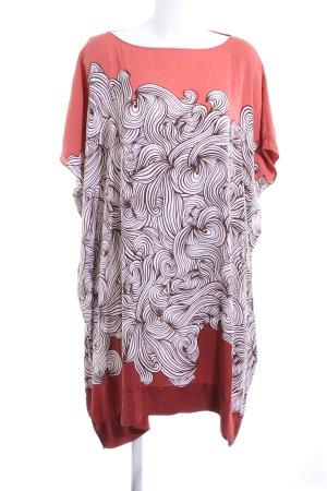 Diane von Furstenberg Blusenkleid rot-weiß abstraktes Muster Casual-Look
