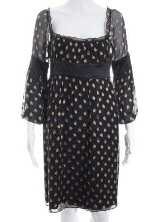 Diane von Furstenberg Chiffonkleid schwarz-goldfarben Sternenmuster Casual-Look