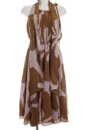 Diane von Furstenberg Cocktailkleid hellbraun-blasslila abstraktes Muster