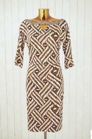DIANE VON FURSTENBERG Kleid Jerseykleid Seide Braun Weiß Stäbchen Gemustert Gr.8