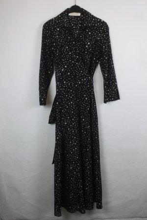 Diane von Furstenberg Robe portefeuille noir-blanc coton