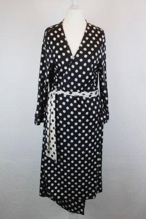 DIANE VON FURSTENBERG Kleid Wickelkleid Seide Gr. 38 schwarz/weiß