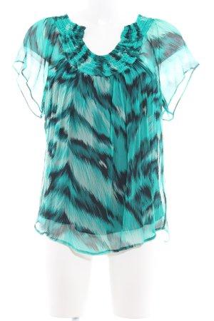 Diane von Furstenberg Kurzarm-Bluse mint-schwarz abstraktes Muster Casual-Look