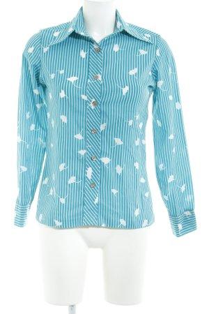 Diane von Furstenberg Langarmhemd türkis-weiß Streifenmuster Casual-Look