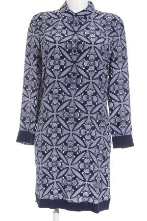 Diane von Furstenberg Langarmkleid dunkelblau-weiß florales Muster Elegant