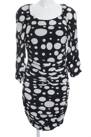 Diane von Furstenberg Langarmkleid schwarz-weiß Punktemuster Elegant