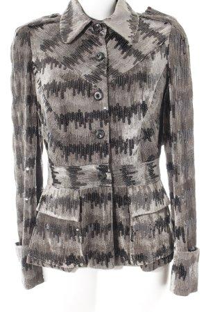 Diane von Furstenberg Long-Blazer schwarz-graubraun abstraktes Muster
