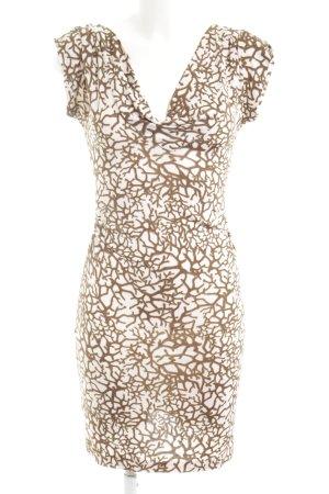 Diane von Furstenberg Minikleid creme-braun Allover-Druck Casual-Look