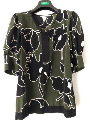 Diane von Furstenberg Silk Blouse black-olive green silk