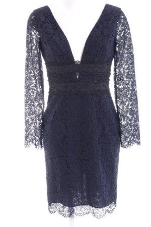 Diane von Furstenberg Spitzenkleid dunkelblau florales Muster Spitzen-Optik