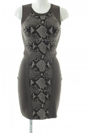 Diane von Furstenberg Stretchkleid hellgrau-schwarz Animalmuster