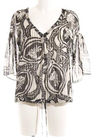 Diane von Furstenberg Transparenz-Bluse schwarz-creme abstraktes Muster Elegant
