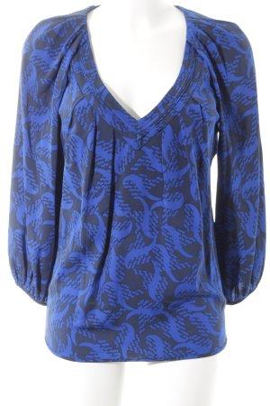 Diane von Furstenberg Tunikabluse blau-schwarz Allover-Druck Casual-Look