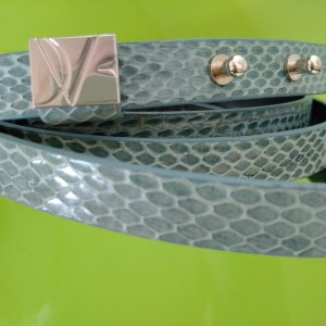 Diane von Furstenberg Double Belt cadet blue reptile leather