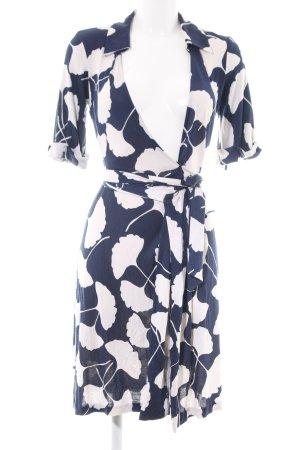 Diane von Furstenberg Wraparound blue-white allover print business style