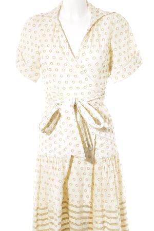 Diane von Furstenberg Wickelkleid creme-goldfarben Punktemuster Elegant