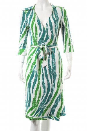 Diane von Furstenberg Wickelkleid grün-waldgrün abstraktes Muster Hippie-Look
