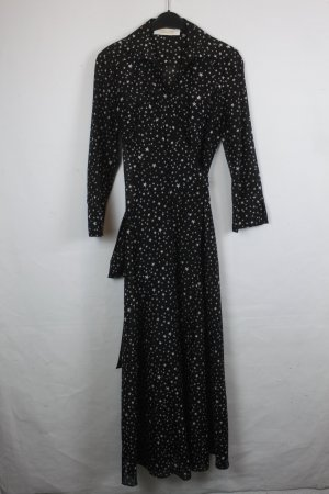 Diane von Furstenberg Wickelkleid Kleid Maxikleid Gr. XS schwarz Stern (18/4/029)