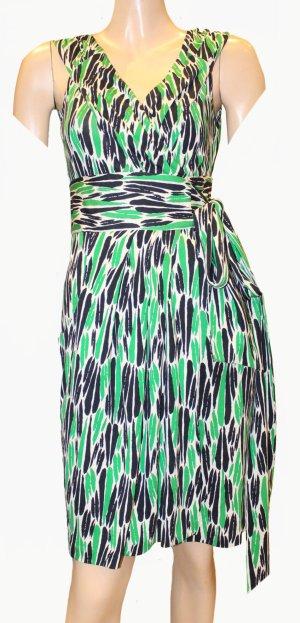Diane von Furstenberg Vestido cruzado negro-verde Seda