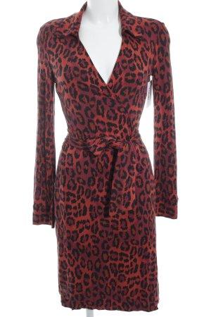 Diane von Furstenberg Robe portefeuille noir-rouille motif léopard