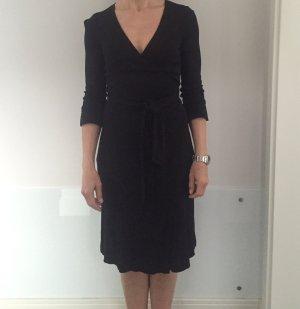 Diane von Furstenberg Vestido cruzado negro tejido mezclado