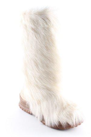 Diavolezza Fellstiefel wollweiß-braun Animal-Look