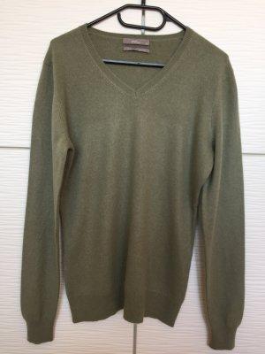 Dibari Cashmere Pullover V-Ausschnitt, Grün