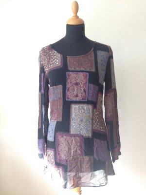 Dibari Tunika Bluse Mini Kleid LangarmMuster Hippie Boho Paris