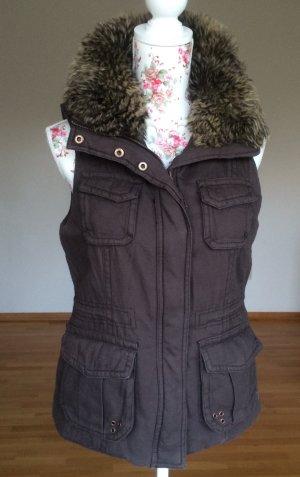 Dicke Baumwollweste mit Kunstfellkragen in XS - kaum getragen