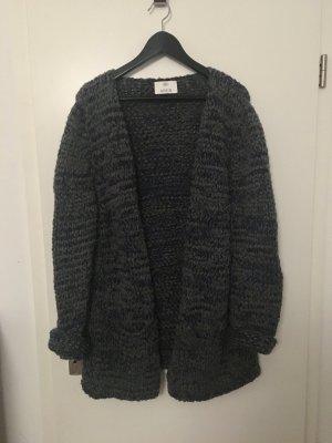 Allude Veste tricotée en grosses mailles gris foncé-bleu foncé