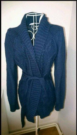 Cache-cœur en tricot bleu violet-bleu foncé