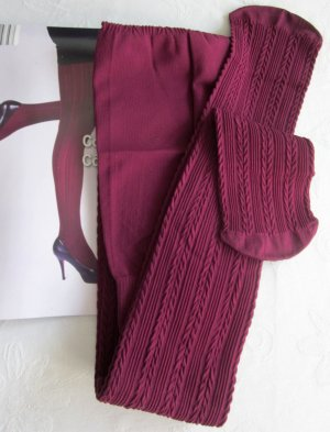 dicke Strumpfhose Pants Beere beere violett underwear mit Fuß gerippt Zopfmuster Rippenmuster Muster Rippen 60DEN S 36 38 NEU
