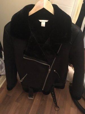H&M Conscious Collection Chaqueta de piel negro Piel