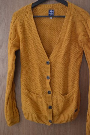 Franklin & marshall Coarse Knitted Jacket yellow-dark yellow wool