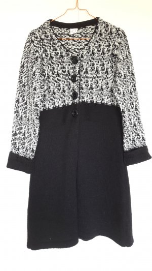 Coarse Knitted Jacket black-white mixture fibre