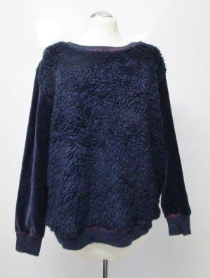Dicker Warmer Plüsch Pullover B.C. Größe L 42 Dunkelblau Nachtblau Blau Teddyfell Nicky Nicki Samt Casual Pulli