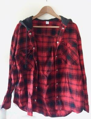 H&M Divided Chemise de bûcheron noir-rouge coton