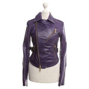 Die violette Lederjacke Labels Philipp Plein 100% Original