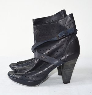Diesel Peep Toe Booties dark blue leather