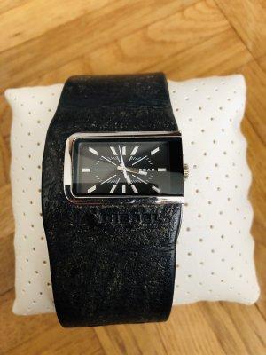 Diesel Horloge met lederen riempje zwart