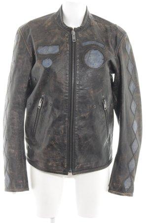 Diesel Biker Jacket black-brown extravagant style