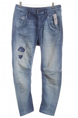 Diesel Boyfriendjeans blau Washed-Optik