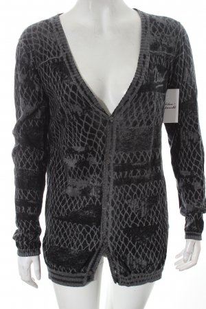 Diesel Cardigan schwarz-dunkelgrau grafisches Muster Casual-Look