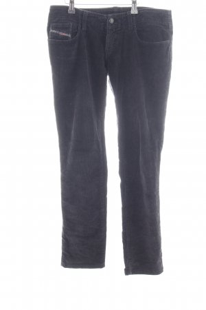 Diesel Pantalone di velluto a coste nero stile casual